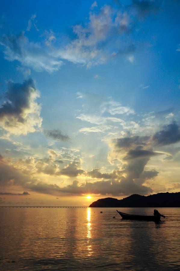 Sonnenuntergang von Pulau Aman Penang Malaysia stockfoto