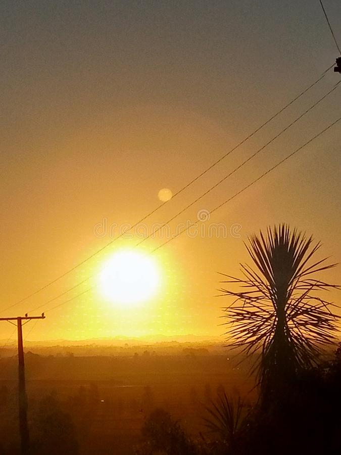 Sonnenuntergang Waikato Neuseeland stockfotos