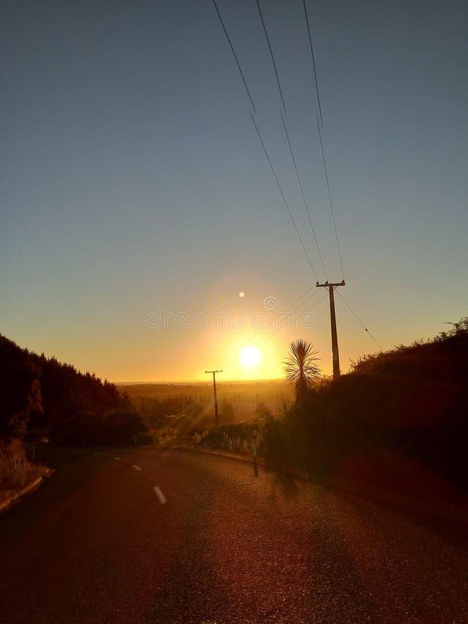 Sonnenuntergang Waikato Neuseeland stockbild