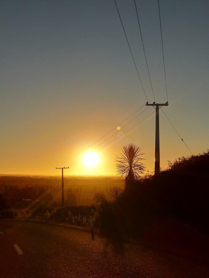 Sonnenuntergang Waikato Neuseeland stockfotografie