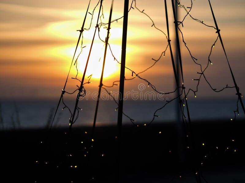 Sonnenuntergang in Wilhelmshaven stockfotografie