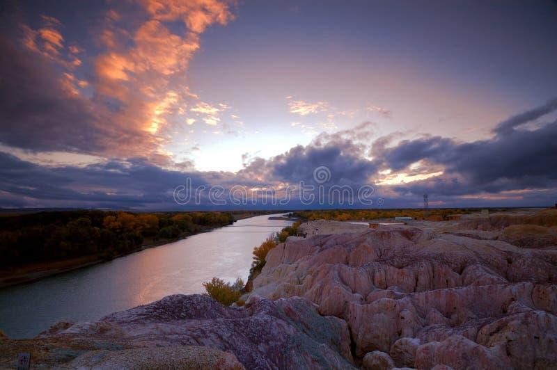 Sonnenuntergang-Wolken im Regenbogen-Bucht-Park lizenzfreies stockbild