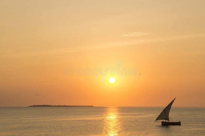 Sonnenuntergang in Zanzibar stockfotos