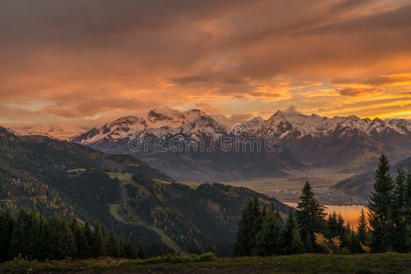 Sonnenuntergang in Zell morgens sehen lizenzfreies stockfoto