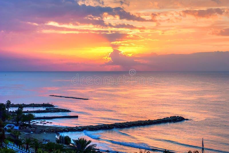 Sonnenuntergang in Zypern stockfotografie