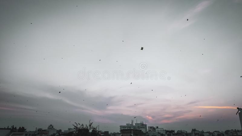Sonnenuntergangansicht von Baroda-Stadt, Gujarat, Indien stockfotos