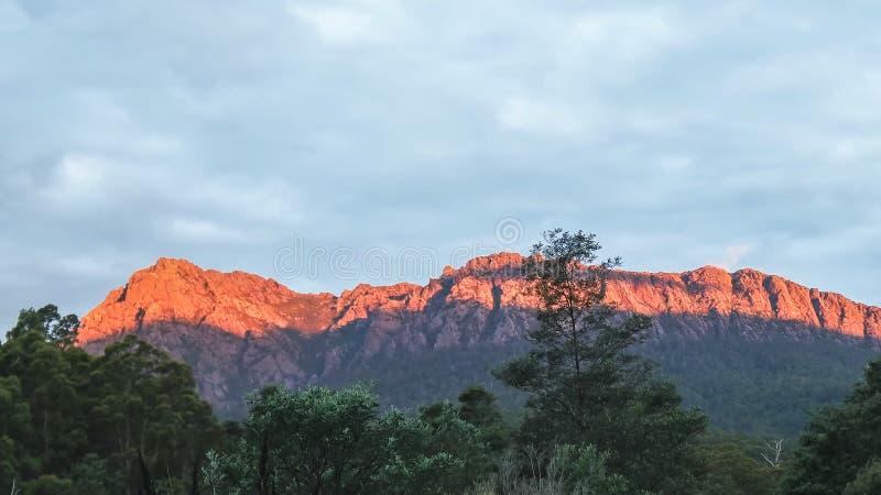 Sonnenuntergangansicht von mt Roland von gowrie Park in Tasmanien stockfoto