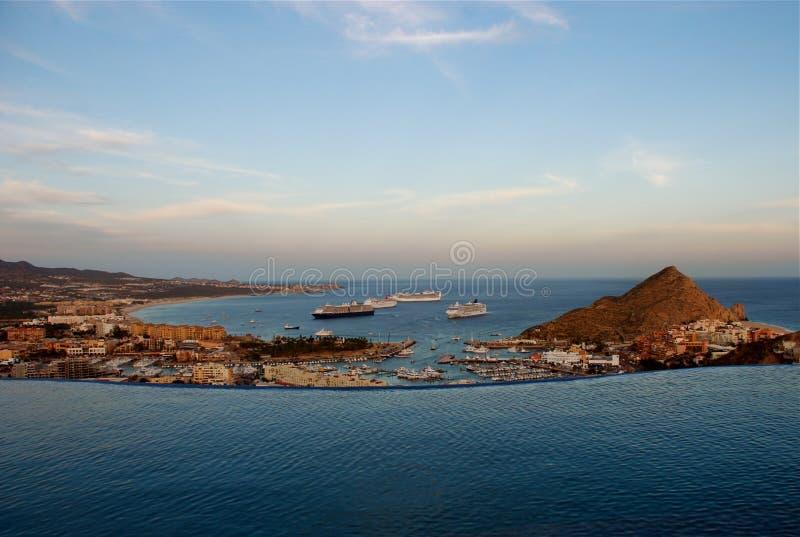 Sonnenuntergangansicht von Pedregal Los Cabos lizenzfreie stockfotos