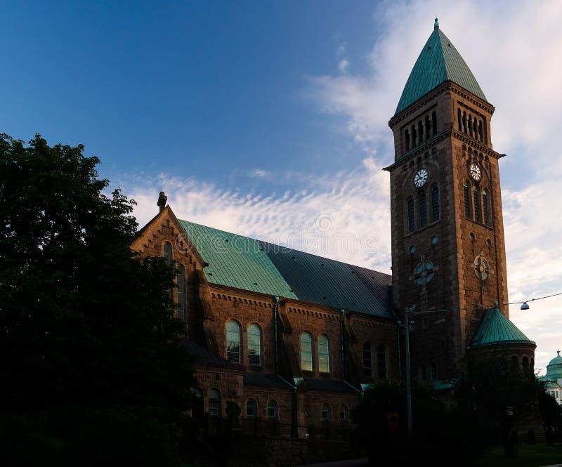 Sonnenuntergangansicht zur Vasakirche alias Vasakyrkan, Goteborg, Schweden lizenzfreie stockfotografie