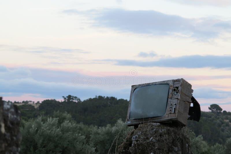 Sonnenuntergangfernsehen stockfotografie