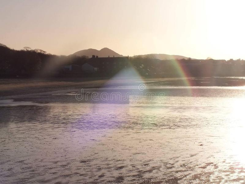 Sonnenuntergangglitzern stockfoto