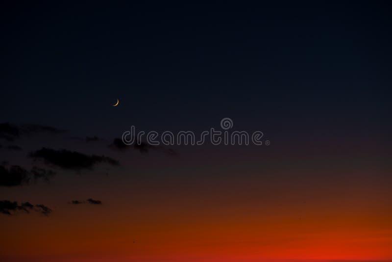 Sonnenunterganghimmel mit hellem rotem Horizont und Halbmond moon stockbild
