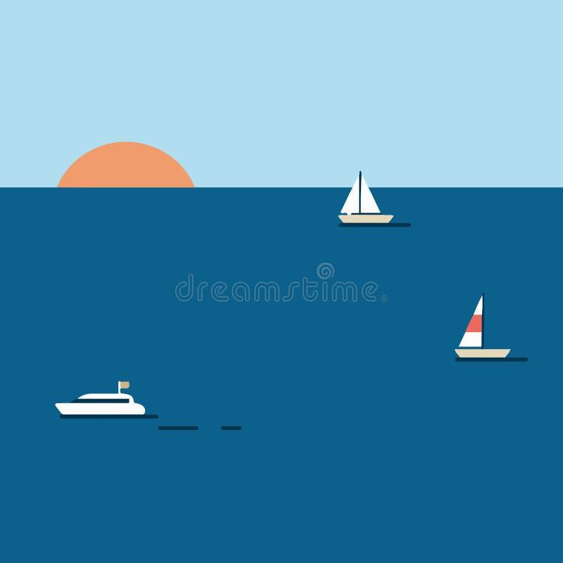 Sonnenuntergangillustration mit Booten auf dem Meer lizenzfreie abbildung