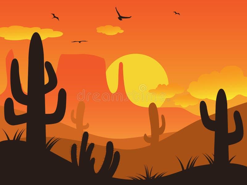 Sonnenuntergangkaktuswüste lizenzfreie abbildung