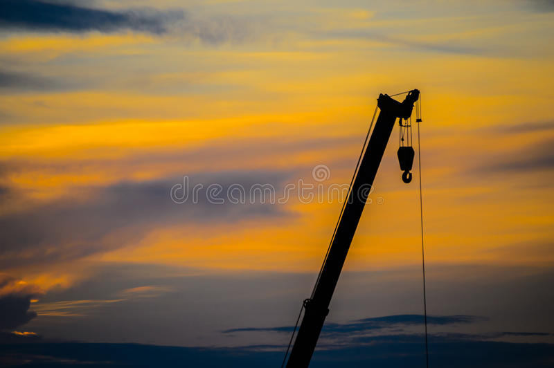 Sonnenuntergangkräne stockfoto