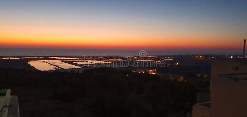 Sonnenuntergangpanoramablick von der Dachspitze auf carmel Berg, Israel lizenzfreie stockfotos