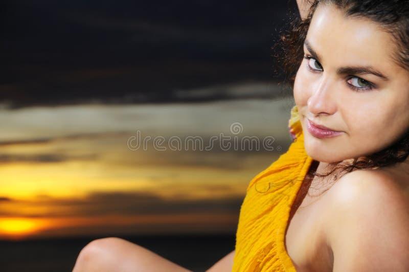 Sonnenuntergangportrait stockbilder