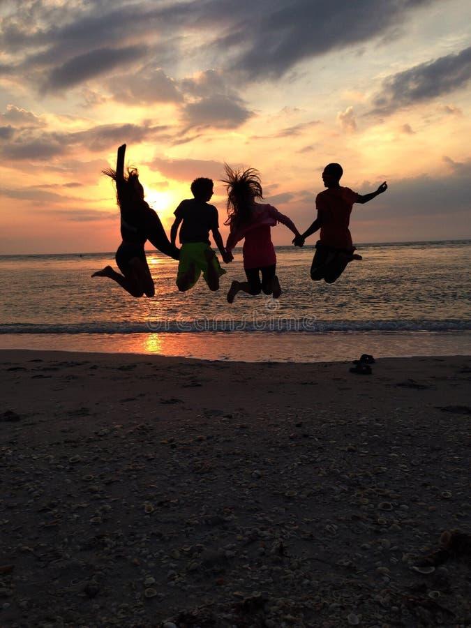 Sonnenuntergangspringen stockfotos