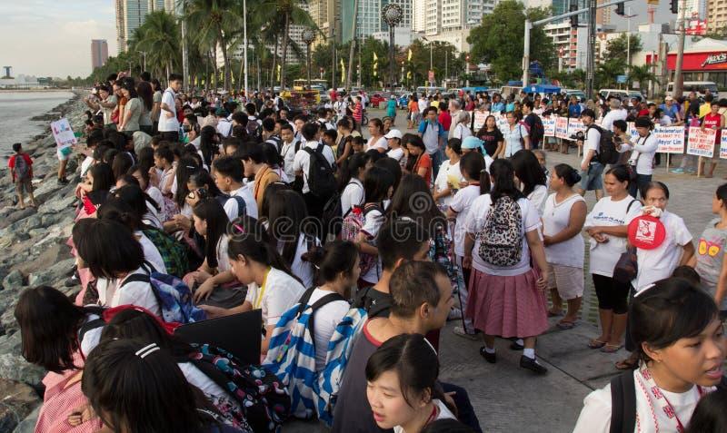 Sonnenunterganguhrprotest für Manila-Schacht, Manila stockfoto