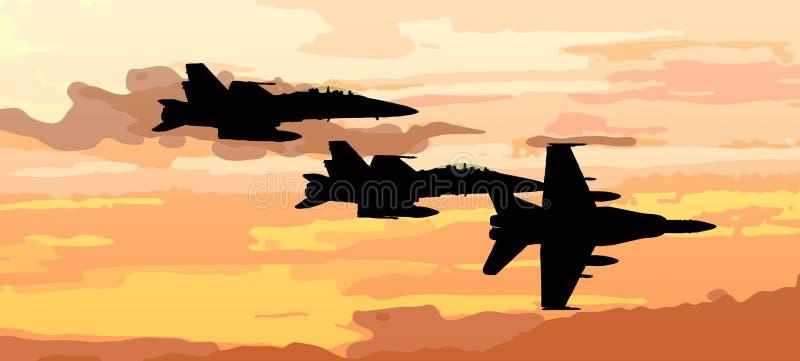 Sonnenuntergangvektor mit Flugzeugstrahlenkämpfer stock abbildung
