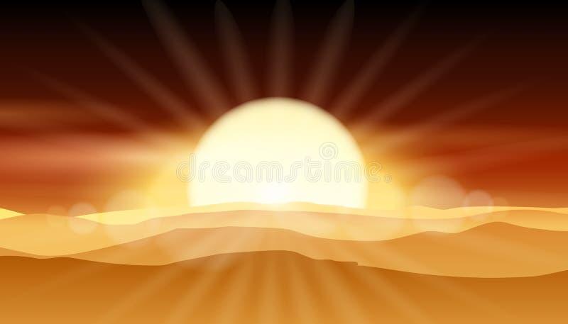 Sonnenuntergangwüstenhintergrund oder -sonnenaufgang über sandiger Landschaftsvektorillustration lizenzfreie abbildung