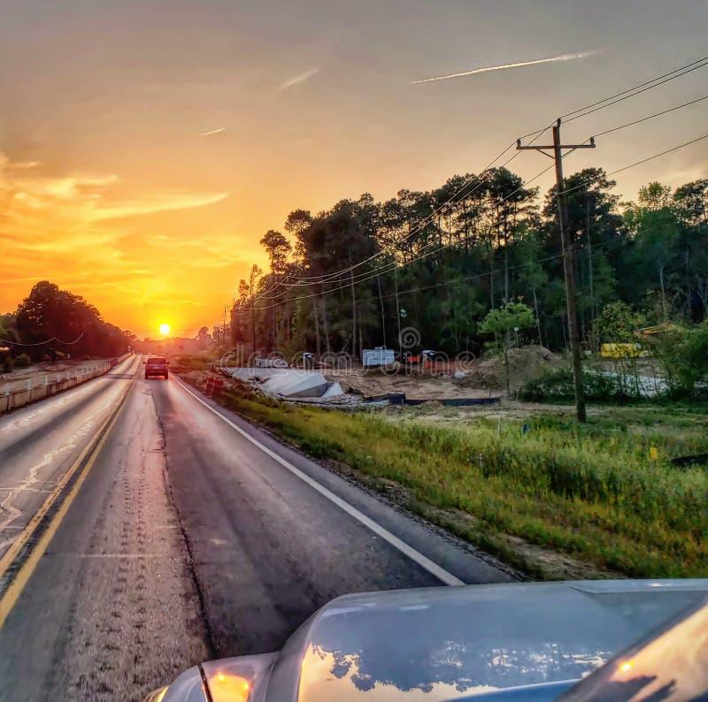 Sonnenuntergangweiter weg stockbilder