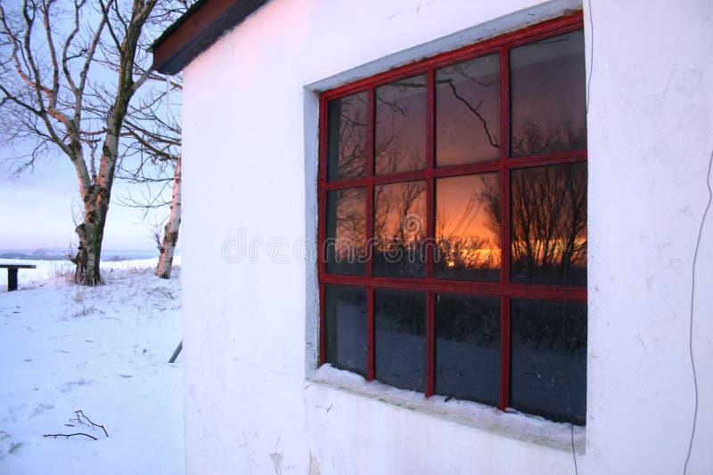 Sonnenuntergangwinter windw stockbild
