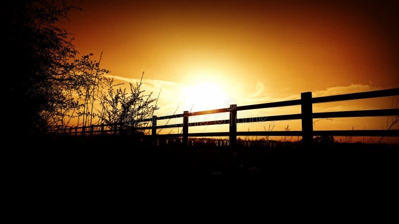 Sonnenuntergangzaun lizenzfreie stockfotografie