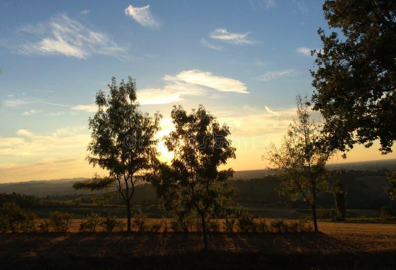 Sonnenuntergangzeit, Landschaften mit den Hügeln um die Stadt von Bologna, Italien lizenzfreies stockfoto