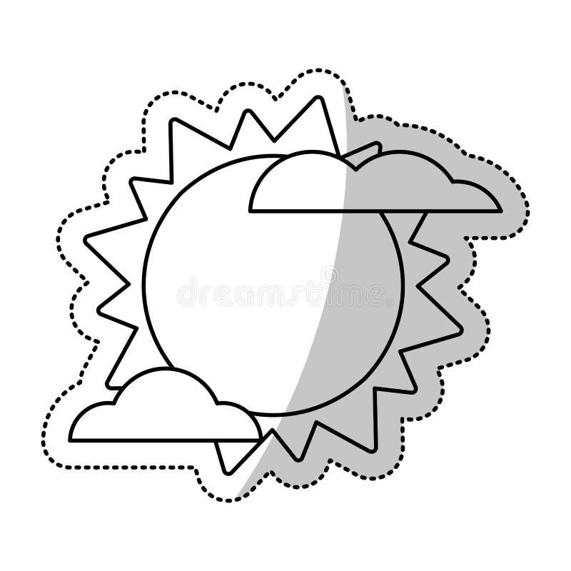 Sonnenwolke Weater Symbol-Schnittlinie Stock Abbildung ...