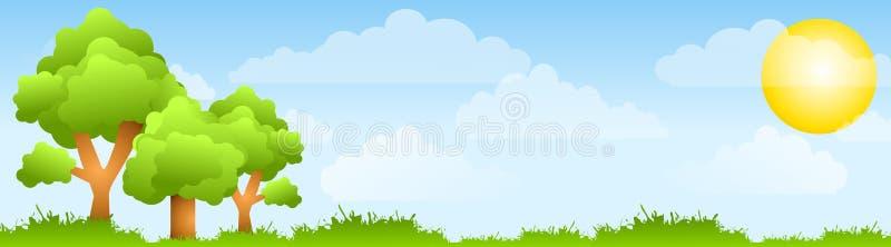 Sonnige Feld-Bäume und Sun-Fahne stock abbildung