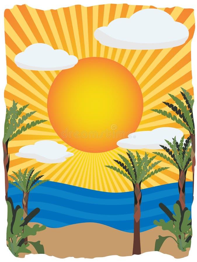 Sonnige helle tropische vektorabbildung lizenzfreie abbildung
