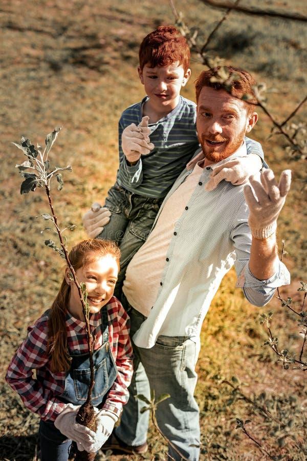 Sonnige nette rothaarige lächelnde Familie, die nach Bäumen sucht lizenzfreies stockfoto