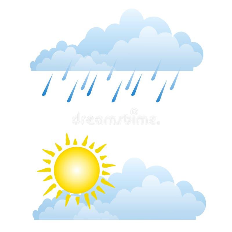 Sonnige regnerische Wetter-Wolken vektor abbildung