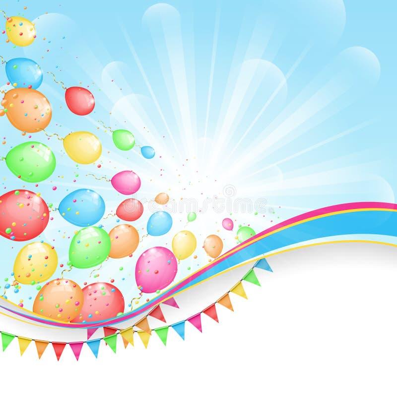 Sonniger Feiertagshintergrund mit Farbballonen und -flaggen vektor abbildung