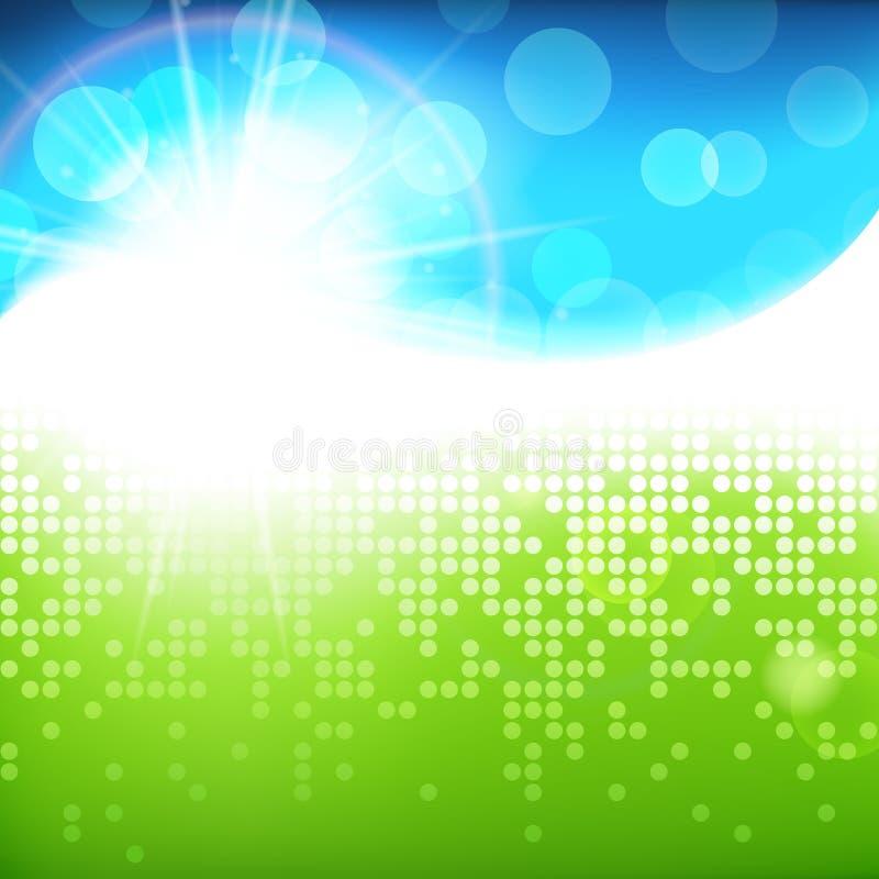 Sonniger hellgrüner blauer Vektorhintergrund, grüne natürliche eco Technologie, Frühlingssommer-Zusammenfassungsillustration vektor abbildung