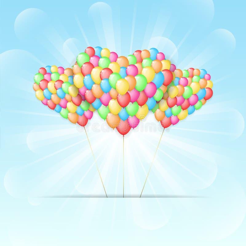 Sonniger Hintergrund mit Farbballonen in Form von Herzen vektor abbildung
