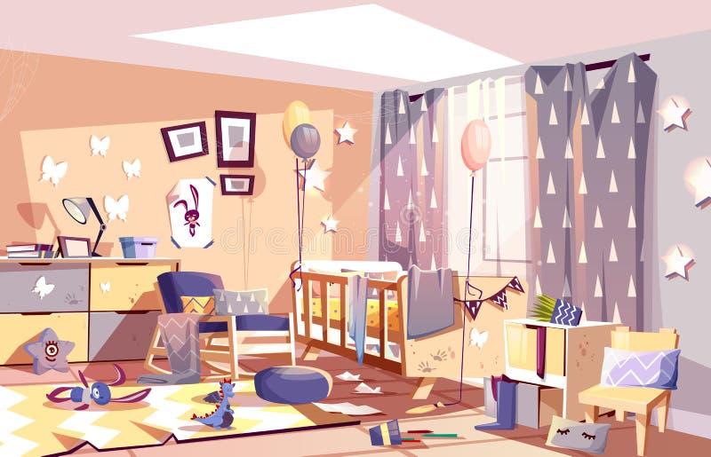 Sonniger Innenkarikaturvektor des unordentlichen Kinderschlafzimmers lizenzfreie abbildung
