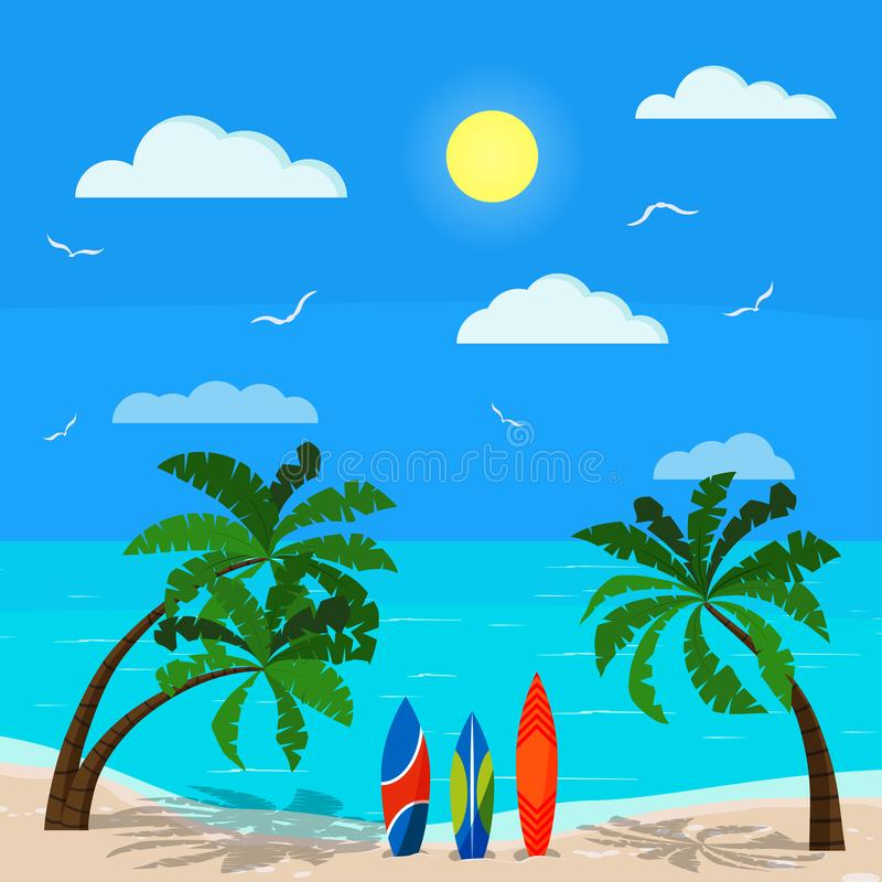 Sonniger Meerblick mit Palmen, blauer Ozean, Sandküstenlinie, verschiedene Surfbretter, Wolken, Sonne, Seemöwen, Himmel, Vektorhi stock abbildung