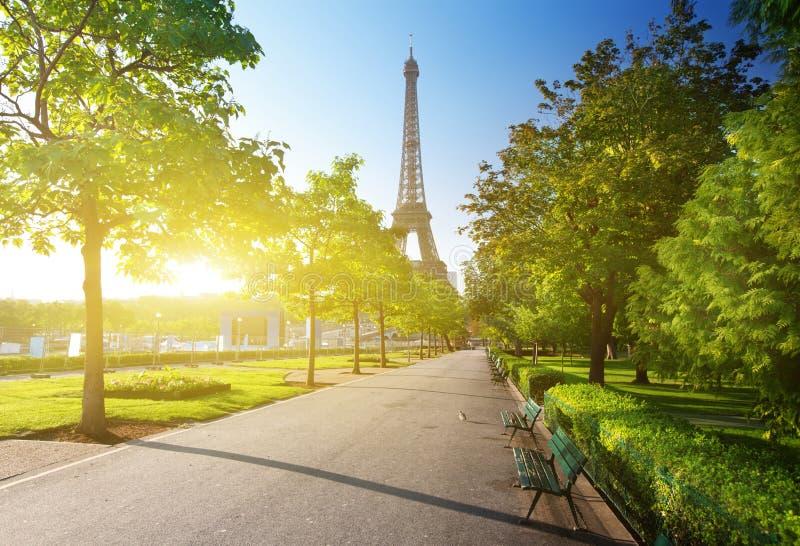 Sonniger Morgen und Eiffelturm, Paris lizenzfreies stockfoto