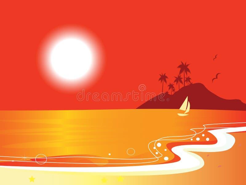 Sonniger roter Strand Küsten und Ozean mit Seemannboot vektor abbildung