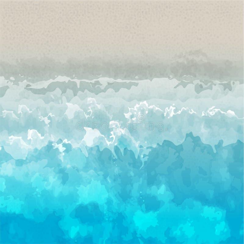 Sonniger Strandvektorhintergrund mit wawes lizenzfreie abbildung