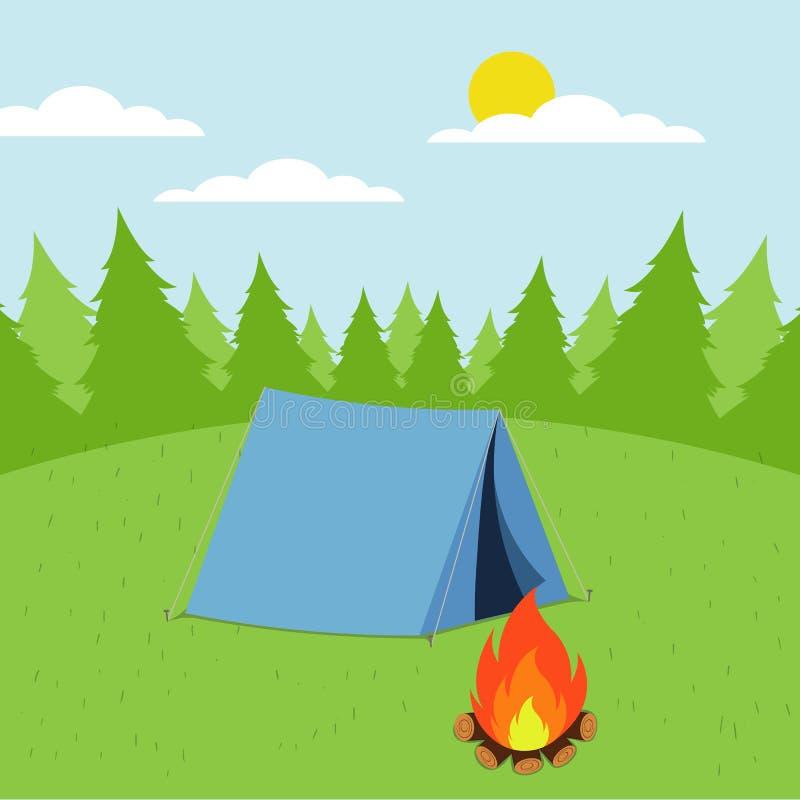Sonniger Tageslandschaftsillustration in der flachen Art mit Zelt, Lagerfeuer, Bergen, Wald und Wasser Hintergrund für Sommerlage stock abbildung
