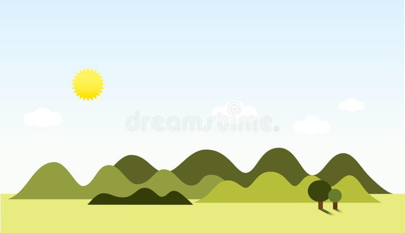 Sonniger Tagesvektorlandschaft lizenzfreie abbildung