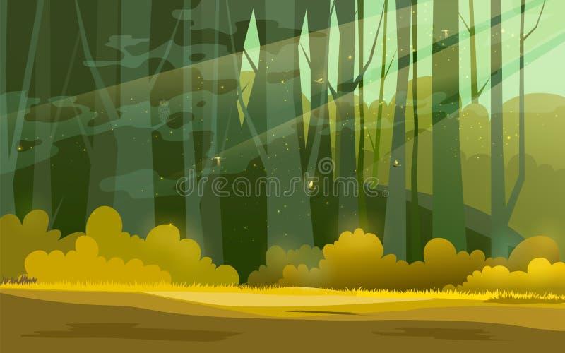 Sonniger Waldhintergrund Vector Illustration des Holzes im Waldim sonnenlicht Hintergrund stock abbildung