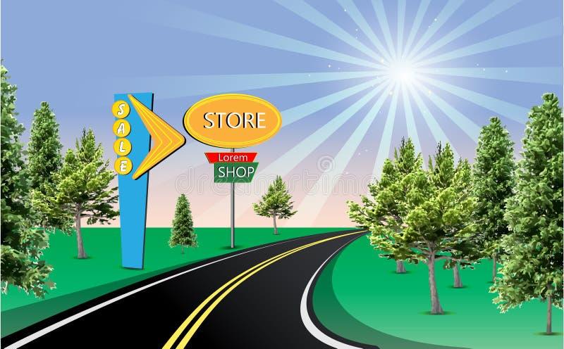 Sonniges Straßenspeichershop-Verkaufszeichen stock abbildung