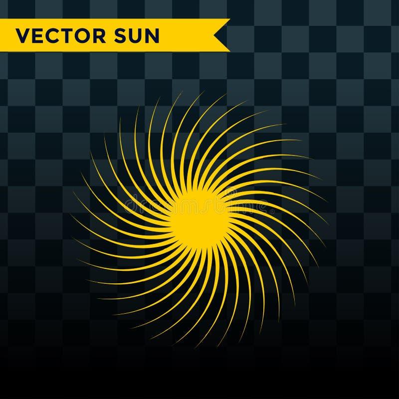 Sonniges Symbol des Sun-Explosionssternikonenvektorillustrationssommernaturglanzsonnenlichtsonnenstrahlfunkensonnenaufgang-Zeiche stock abbildung