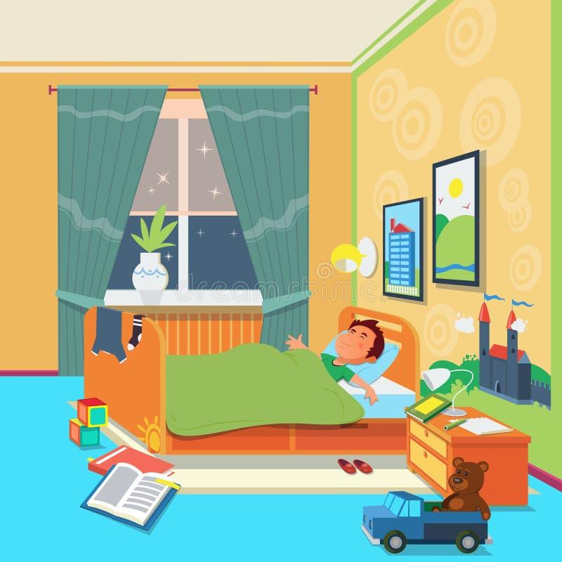 Sonno del ragazzo nell'illustrazione di vettore della stanza di bambini illustrazione di stock