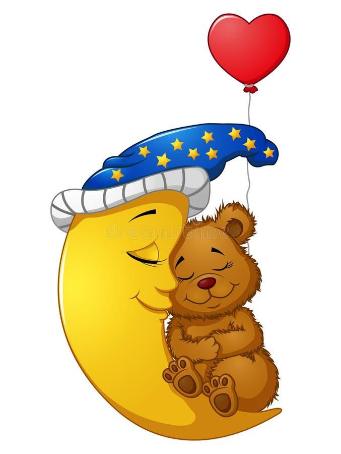 Sonno dell'orsacchiotto del fumetto sulla luna illustrazione vettoriale