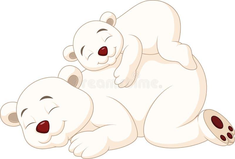 Sonno dell'orso polare della madre e del bambino del fumetto illustrazione vettoriale
